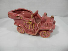 Vintage - Decorative Touring Car Pottery Planter - Glossy Pink with Gold Trim