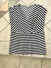 Ladies Stretch Top Size 16 Black White Stripe Deep V Crossover Top w Empire Line