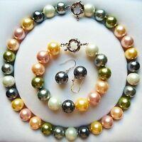 14mm mehrfarbig Muschelkernperlen Halskette Armband & Ohrringe gesetzt