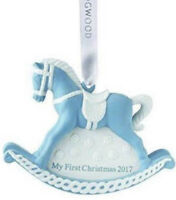 Wedgwood Rocking Horse Blue First Christmas Ornament 2017 Baby Boy New In Box