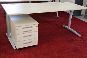 Schreibtisch 180/80cm ahorn mit Rollcontainer Palmberg Caldo 48 x vorhanden !