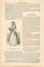 Mme d'Aulnoy / Château de Fénelon à Sainte-Mondane Quercy GRAVURE OLD PRINT 1870