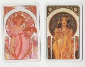 B41 Vintage Swap Cards Art nouveau Lady Whimsical artist MUCHA