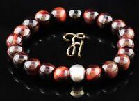 Tigerauge 925er sterling Silber Armband Bracelet Perlenarmband rot 8mm