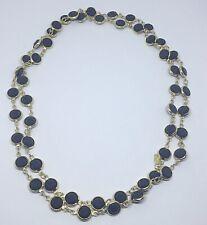 """Signed Swarovski Crystal Bezel Black and Gold Necklace Long 34-36"""" 9mm"""