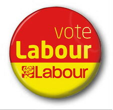 "VOTE LABOUR  - 25mm 1"" Button Badge - Novelty Election Corbyn RED & YELLOW"