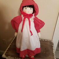 """Vintage Little Red Riding Hood 23"""" Plush Cloth Folk Art Doll With Painted Face"""
