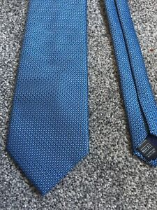 """Marks and Spencer blue polyester patterned tie 3.5"""" wide 55"""" long"""