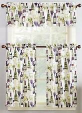 "3 Piece Wine Bottle & Grape Novelty Motifs Curtain Set W/ Valance & 36""L Tiers"