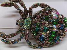 MASSIVE MULTICOLORED RIVOLI CRYSTAL SPIDER BROOCH/PENDANT! BRAND NEW!