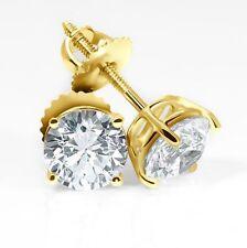 4CT Round Brilliant Stud Earring 14k Yellow Gold Brilliant Solitaire Screwback