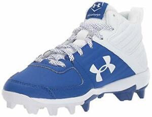 Under Armour Kids' Leadoff Mid Rm Jr. Baseball Shoe, Royal (400)/White, Size