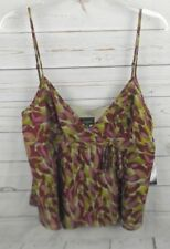 New Nine West Cami Size 14 Crossover Neck Purple Green Floral