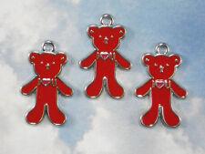 5 Love U Bears Charms Red Enamel & Silver Platinum Tone Adorable Teddy #P1748