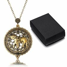 Magnifying Glass Elephant Pendant Necklace Gold Long Sweater Chain+A Box Jewelry