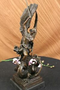 "19"" Hot Cast Bronze Archangel Saint Michael Religious Statue Figurine Decor Deal"