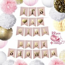Baby Shower Decorations Kit for Girl Its A Girl Cute Pink & Gold Banner 22 Pcs