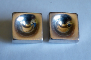 Tiffany A Good Pair Of 1960s Vintage Silver Square Shape Earrings Marked Tiffany