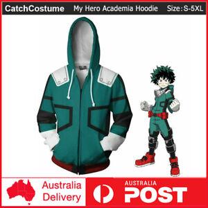 My Hero Academia Izuku Midoriya Costume Hoodie Full Zip Sweatshirt Jacket Cos