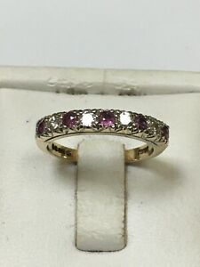 Lovely 9 Carat Yellow Gold RUBY & DIAMOND ETERNITY STYLE Ring