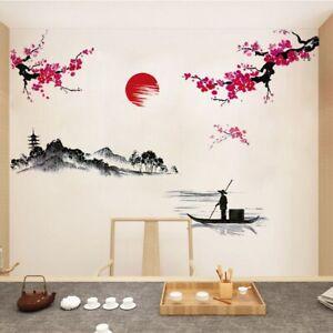 Chinese Style Sakura Japanese Pink Cherry Blossom Tree Home Wall Sticker-Decor