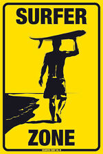 Surfer Zone Guy Surfboard Metal Surf Beach Man Cave Sign Poster Wall Art 12x18