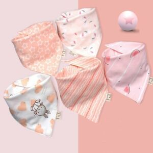 Baby's Girl Pink 100% Cotton Feeding Neckerchief Triangle Dribble Bibs Pack of 5