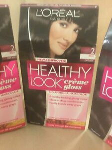 3 X L'Oreal Healthy Look Creme Gloss Hair Color #2 Black Cafe' Noir NEW.