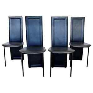Mid Century Modern Set of 4 B&B Italia Side Dining Chairs 1970s Black Leather