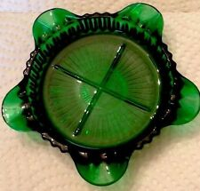 VINTAGE Green Glass Ashtray - Ornate Emerald Green Glass 5 Rests