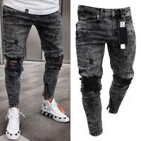 2019 Mens Ripped Skinny Biker Jeans Destroyed Frayed Taped Slim Fit Denim Pants