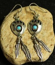 Vintage Turquoise Sterling Silver Dangle Earrings ~ (Rb) Running Bear ~ Claw
