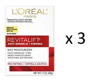 L'Oreal Revitalift Anti-Wrinkle + Firming Day Moisturizer, SPF 25, 1.7 oz (3 Pk)