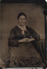 Tin Type 1800's WOMAN Vintage FOUND PHOTOGRAPH bw FREE SHIPPING Portrait 82 3