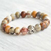 8mm Crazy Agate Stone Beads Handmade Mala Bracelet Bangle Prayer Tibetan Chakra