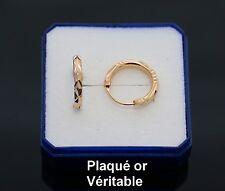 Boucle d'oreille anneau creole en vrai plaqué or motif ciselé homme femme neuve