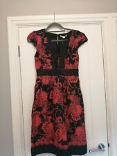 Monsoon Coral And Black A Line Dress with pockets Size 8