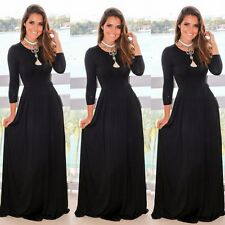 Women's Casual Long Maxi Dress Long Sleeve Evening Party Cocktail Beach Sundress