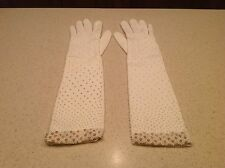 "Vintage Ladies Gloves White Long Beaded Faux Pearls 14"" Long STUNNING & UNIQUE"