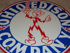 "VINTAGE OHIO EDISON COMPANY W/ REDDY KILOWATT 10.5"" PORCELAIN METAL GAS OIL SIGN"