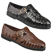 0801c03c Mens Leather Holiday Sandals New Black Brown Leather Interlaced Comfort