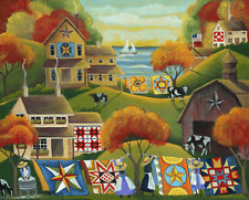 OrIgInAl FoLk ART PaInTiNg QuIlTeRs SuNrIsE QUILTS CoWs BaRn WaSh DaY OcEaN FlAg