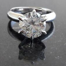 3.Ct Modern Nearly White Moissanite 6 Prong Engagement Ring 925 Sterling Silver