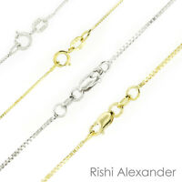 10k and 14k White or Yellow Gold Box Chain Necklace Italian Made All Sizes