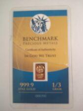 1/3 Gram Benchmark Precious Metals Gold 999.9 Fine Gold !