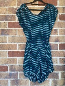 Size S MOTEL ROCKS Blue/black Polka Dots Playsuit BNWT Shorts Open Back