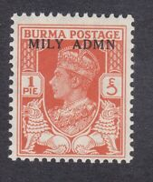 Burma KGVI - 1945 - Military Admin - 1P Red - Mint Hinged - SG35 (E7H)