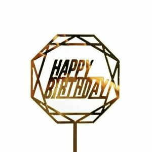 1 PC Acrylic Cake Topper Gold Flash cake topper Happy Birthday Party New Year