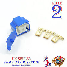 2x Ceramic 3 Pin H4 Bulb Holder and 3 Terminals Connector Housing + COVER