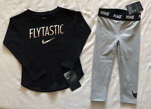 Bundle NIKE Sportswear Toddler Girl Long Sleeve T-Shirt and Dri-FIT Leggings-3T